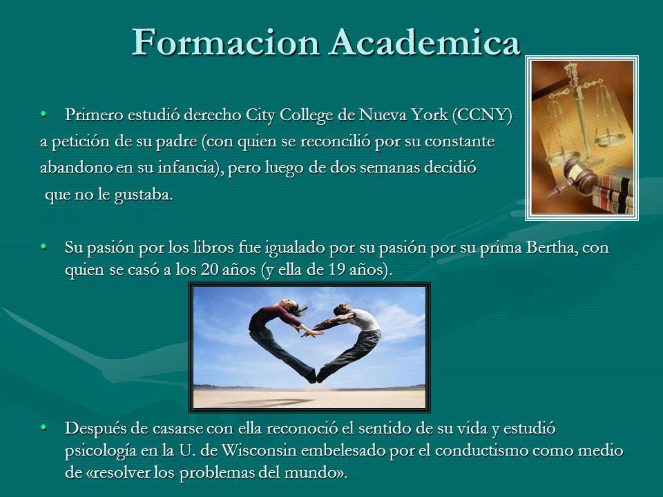 Formacion Academica Primero estudió derecho City College de Nueva York (CCNY)Primero estudió derecho City College de Nueva York (CCNY) a petición de s