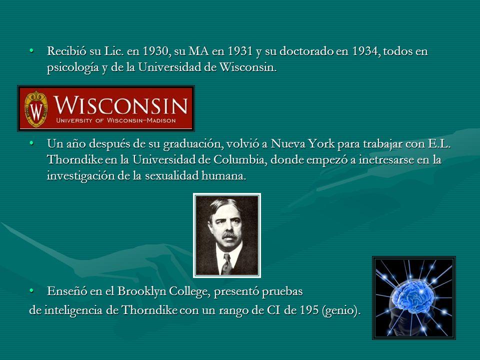 Recibió su Lic. en 1930, su MA en 1931 y su doctorado en 1934, todos en psicología y de la Universidad de Wisconsin.Recibió su Lic. en 1930, su MA en