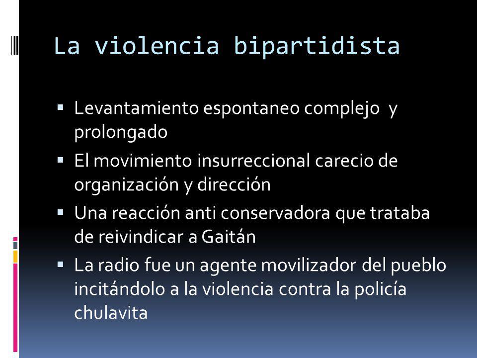 La violencia bipartidista Levantamiento espontaneo complejo y prolongado El movimiento insurreccional carecio de organización y dirección Una reacción