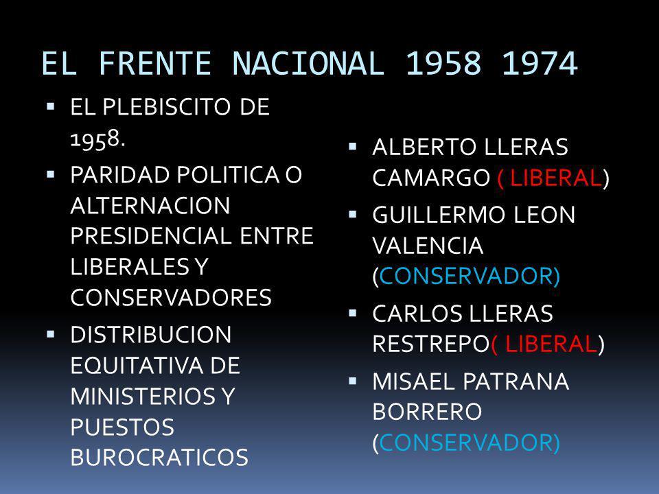 EL FRENTE NACIONAL 1958 1974 EL PLEBISCITO DE 1958. PARIDAD POLITICA O ALTERNACION PRESIDENCIAL ENTRE LIBERALES Y CONSERVADORES DISTRIBUCION EQUITATIV