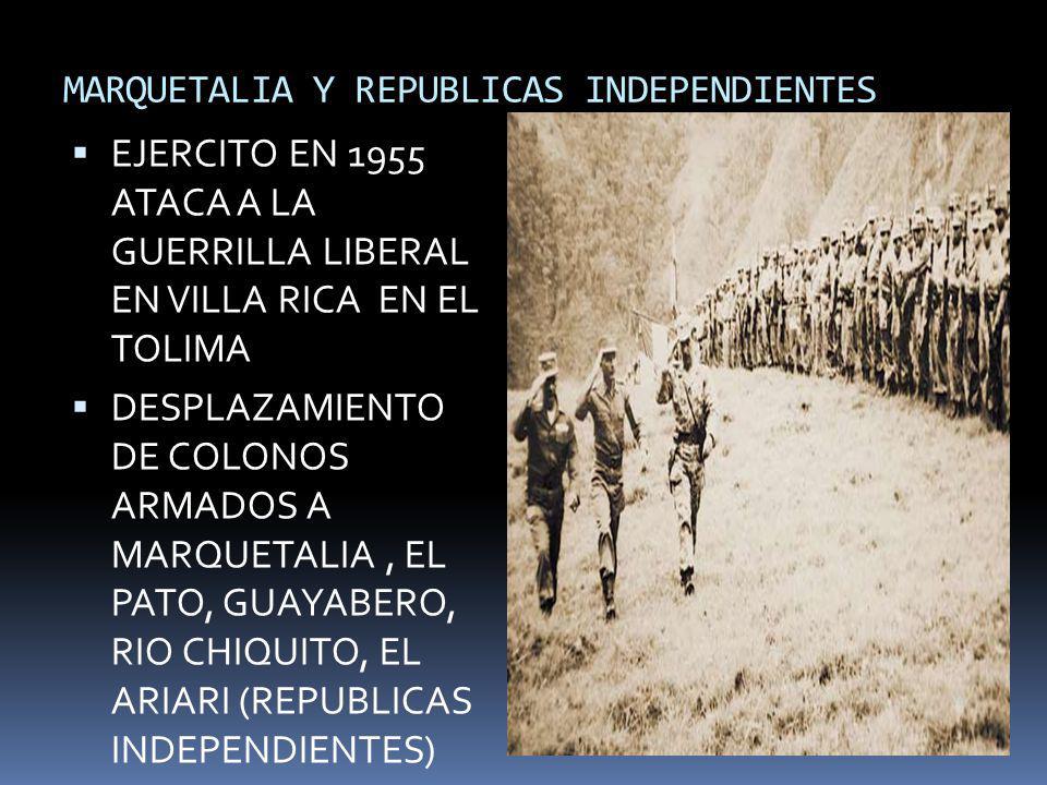 MARQUETALIA Y REPUBLICAS INDEPENDIENTES EJERCITO EN 1955 ATACA A LA GUERRILLA LIBERAL EN VILLA RICA EN EL TOLIMA DESPLAZAMIENTO DE COLONOS ARMADOS A M