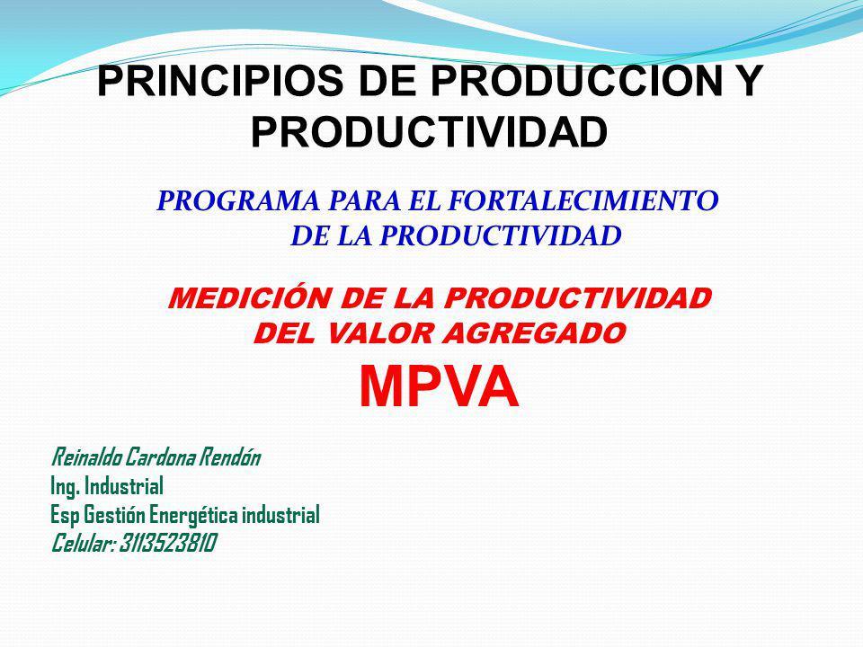 PROGRAMA PARA EL FORTALECIMIENTO DE LA PRODUCTIVIDAD MEDICIÓN DE LA PRODUCTIVIDAD DEL VALOR AGREGADO MPVA Reinaldo Cardona Rendón Ing. Industrial Esp