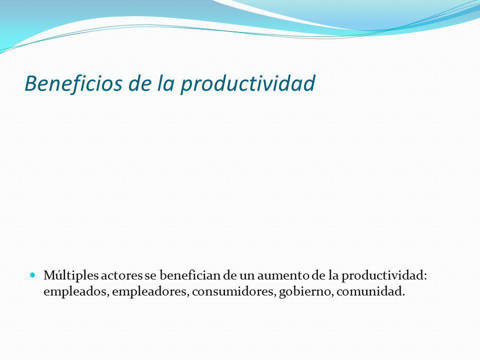 Beneficios de la productividad Múltiples actores se benefician de un aumento de la productividad: empleados, empleadores, consumidores, gobierno, comu