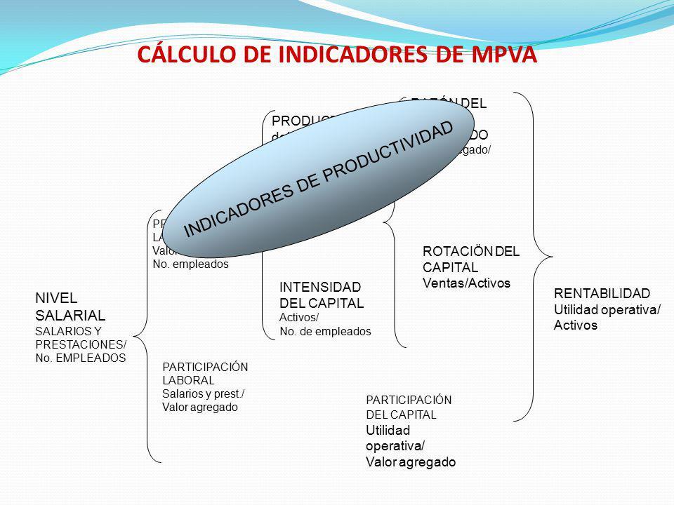 CÁLCULO DE INDICADORES DE MPVA NIVEL SALARIAL SALARIOS Y PRESTACIONES/ No. EMPLEADOS PARTICIPACIÓN DEL CAPITAL Utilidad operativa/ Valor agregado PROD