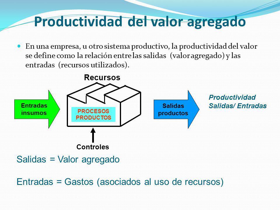 Productividad del valor agregado En una empresa, u otro sistema productivo, la productividad del valor se define como la relación entre las salidas (v