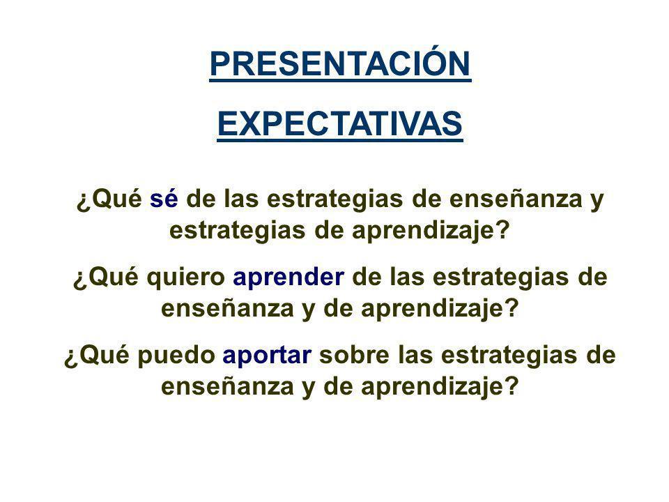 PRESENTACIÓN EXPECTATIVAS ¿Qué sé de las estrategias de enseñanza y estrategias de aprendizaje.