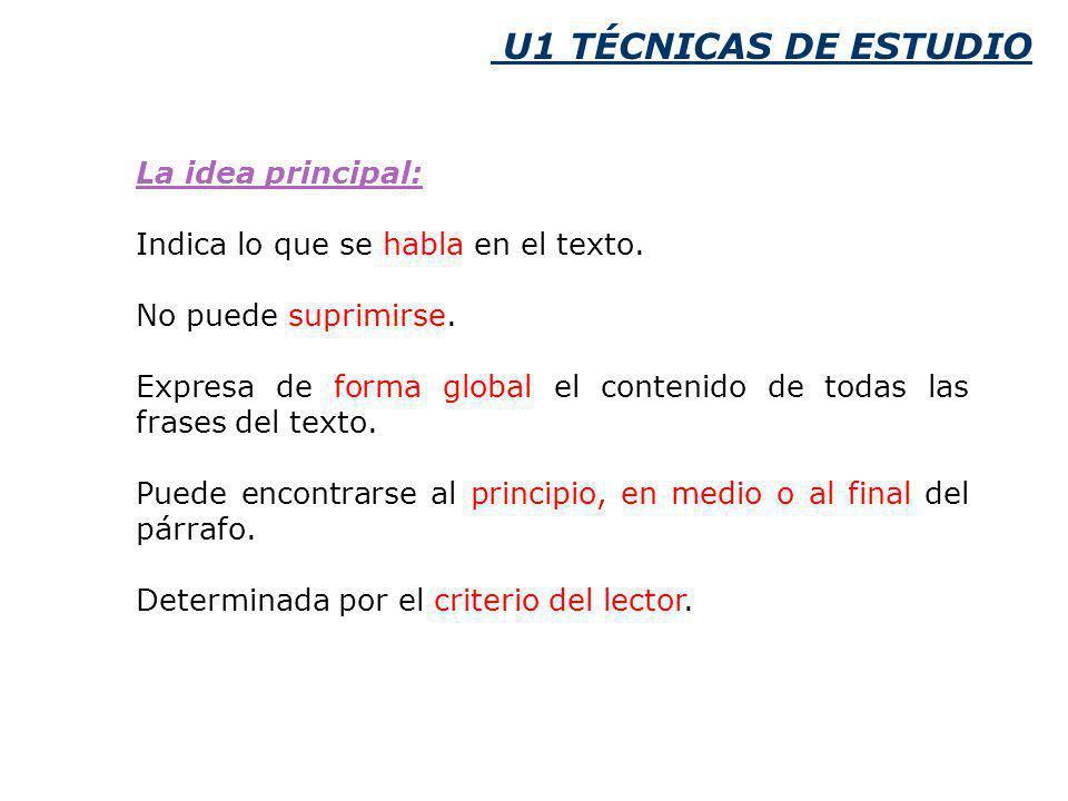 U1 TÉCNICAS DE ESTUDIO La idea principal: Indica lo que se habla en el texto.