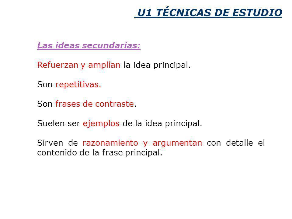 U1 TÉCNICAS DE ESTUDIO Las ideas secundarias: Refuerzan y amplían la idea principal.