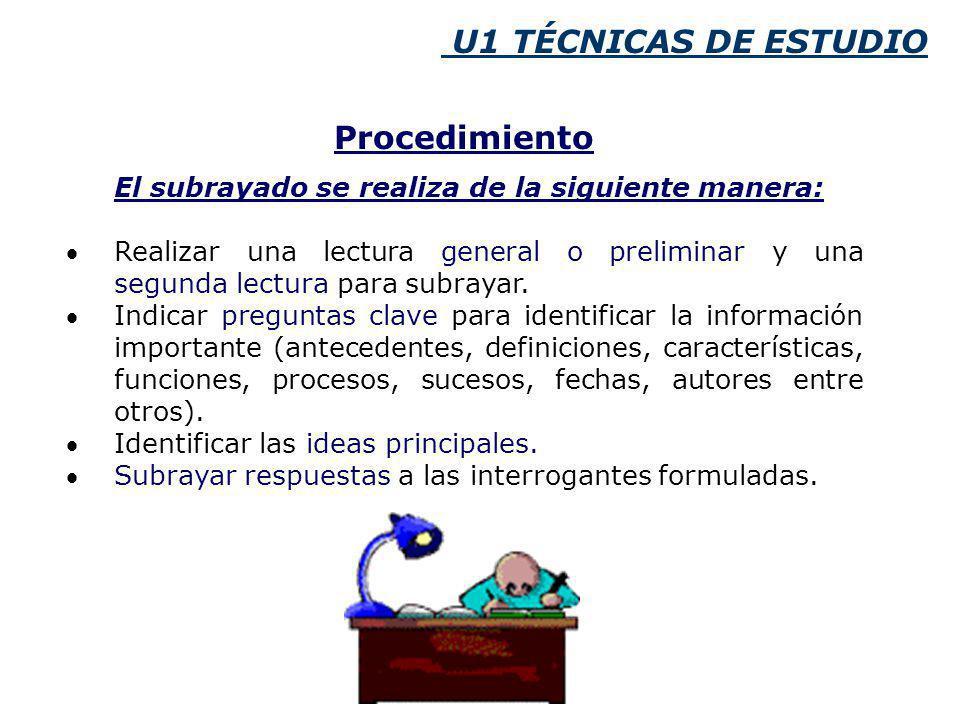 U1 TÉCNICAS DE ESTUDIO El subrayado se realiza de la siguiente manera: Realizar una lectura general o preliminar y una segunda lectura para subrayar.