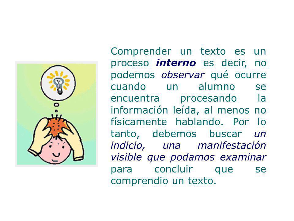 Comprender un texto es un proceso interno es decir, no podemos observar qué ocurre cuando un alumno se encuentra procesando la información leída, al menos no físicamente hablando.