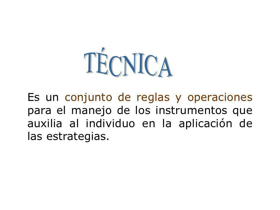 Es un conjunto de reglas y operaciones para el manejo de los instrumentos que auxilia al individuo en la aplicación de las estrategias.