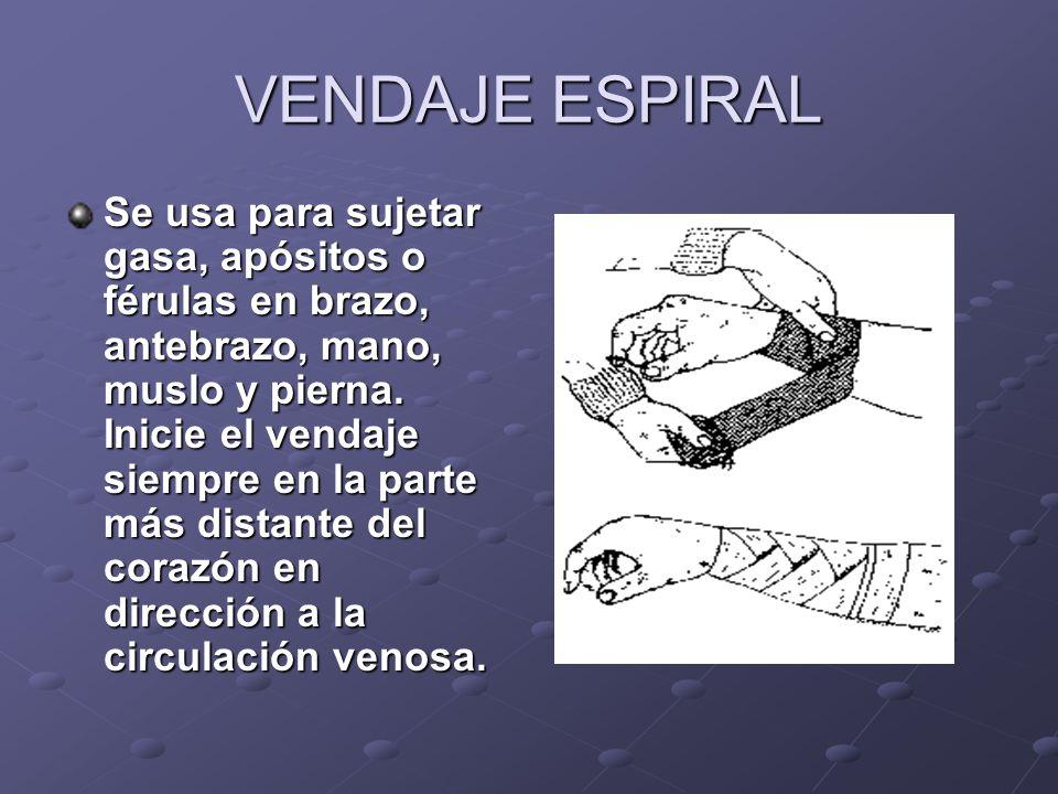 VENDAJE ESPIRAL Se usa para sujetar gasa, apósitos o férulas en brazo, antebrazo, mano, muslo y pierna. Inicie el vendaje siempre en la parte más dist