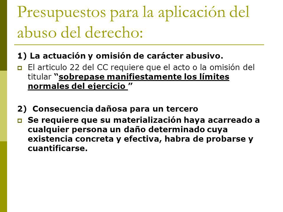 Presupuestos para la aplicación del abuso del derecho: 1) La actuación y omisión de carácter abusivo.