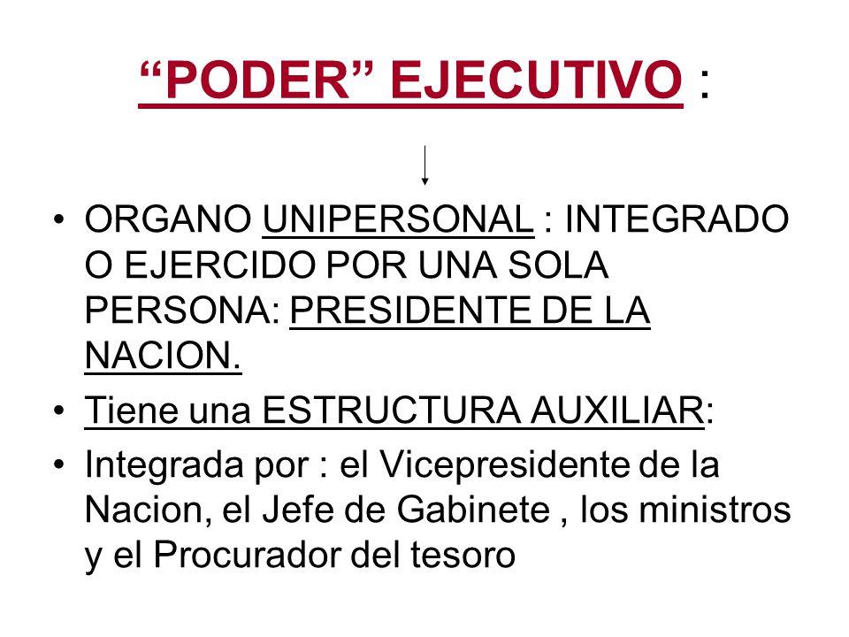 ORGANO EJECUTIVO: PRESIDENTE DE LA NACION: 3 JEFATURAS: 1) JEFE DEL ESTADO (Jefe Supremo de Nacion) 2) JEFE DEL GOBIERNO 3) JEFE DE LAS FUERZAS ARMADAS RESPONSABLE POLITICO DE LA ADMINISTRACION GENERAL DEL PAIS IMPLICA SU TITULARIDAD, SU EJERCICIO ESTA A CARGO DEL JEFE DE GABINETE.