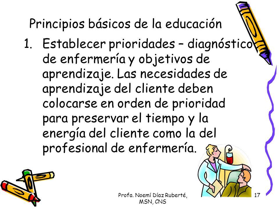 Profa. Noemí Díaz Ruberté, MSN, CNS 17 Principios básicos de la educación 1.Establecer prioridades – diagnóstico de enfermería y objetivos de aprendiz