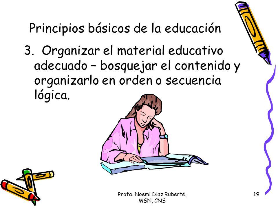 Profa. Noemí Díaz Ruberté, MSN, CNS 19 Principios básicos de la educación 3. Organizar el material educativo adecuado – bosquejar el contenido y organ
