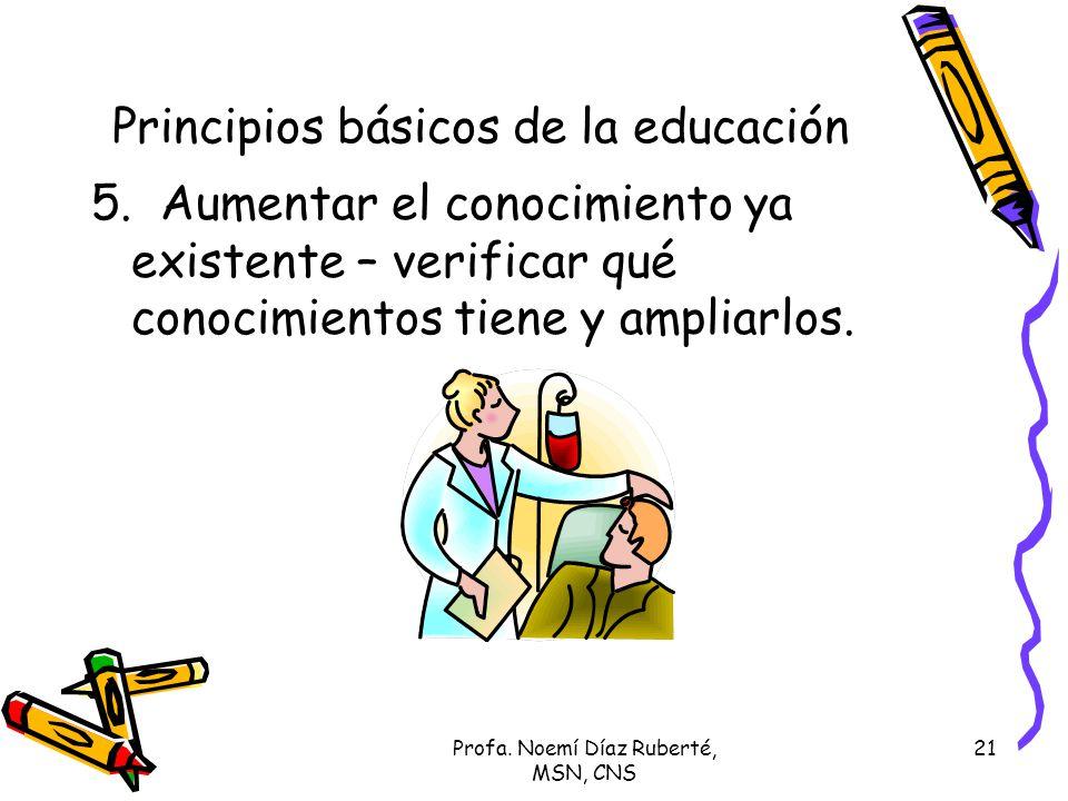 Profa. Noemí Díaz Ruberté, MSN, CNS 21 Principios básicos de la educación 5. Aumentar el conocimiento ya existente – verificar qué conocimientos tiene