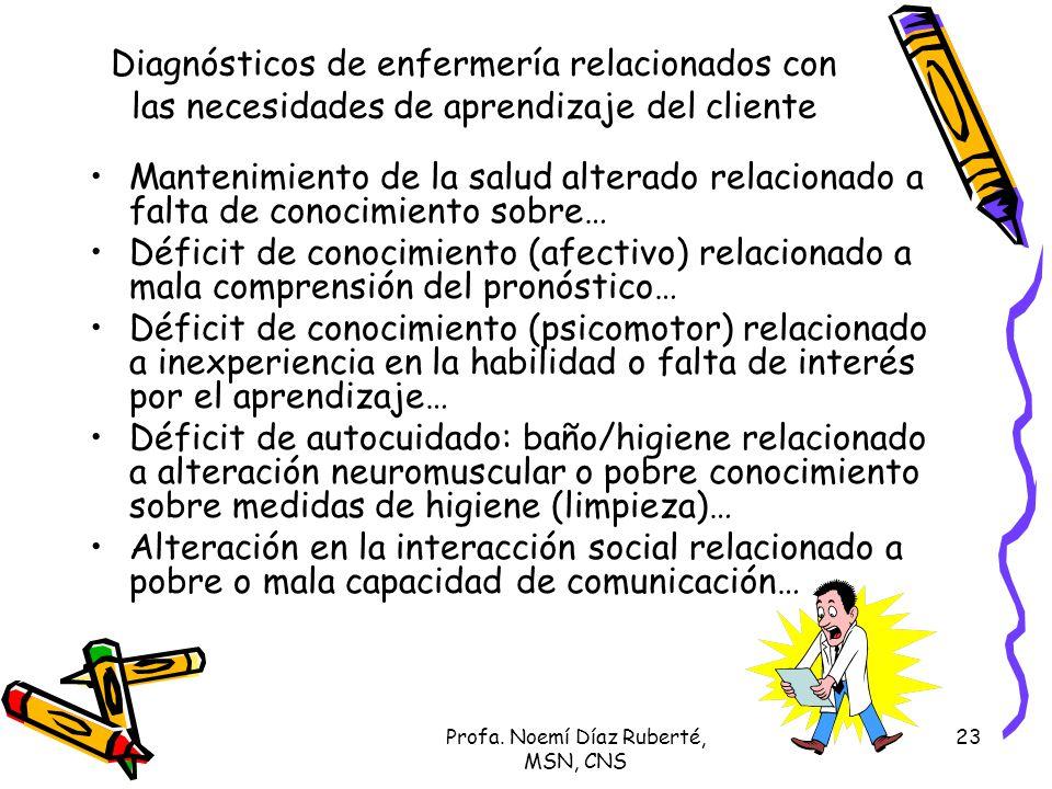 Profa. Noemí Díaz Ruberté, MSN, CNS 23 Diagnósticos de enfermería relacionados con las necesidades de aprendizaje del cliente Mantenimiento de la salu