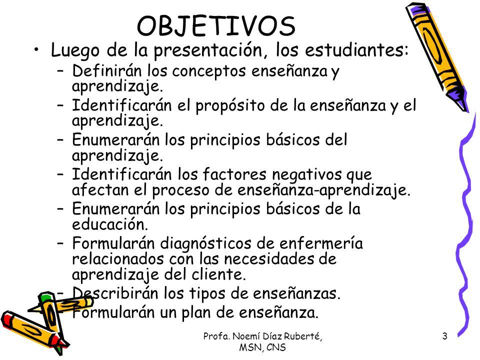 3 OBJETIVOS Luego de la presentación, los estudiantes: –Definirán los conceptos enseñanza y aprendizaje. –Identificarán el propósito de la enseñanza y