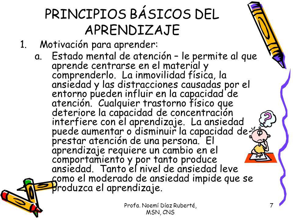 Profa. Noemí Díaz Ruberté, MSN, CNS 7 PRINCIPIOS BÁSICOS DEL APRENDIZAJE 1.Motivación para aprender: a.Estado mental de atención – le permite al que a