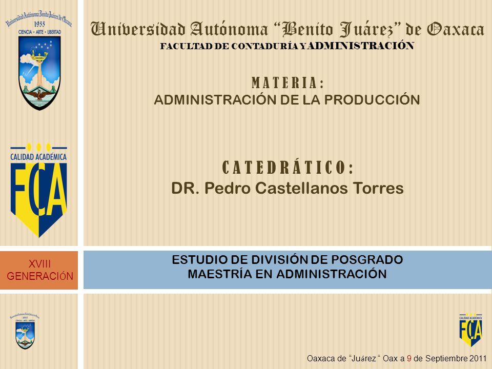 Universidad Autónoma Benito Juárez de Oaxaca FACULTAD DE CONTADURÍA Y ADMINISTRACIÓN ESTUDIO DE DIVISIÓN DE POSGRADO MAESTRÍA EN ADMINISTRACIÓN XVIII