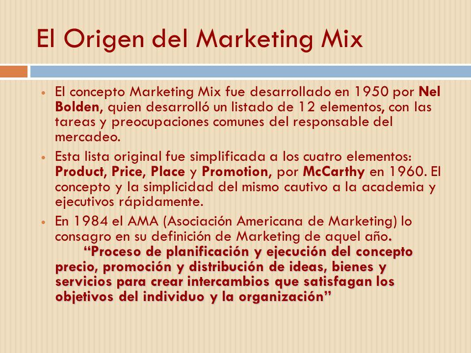 El Origen del Marketing Mix El concepto Marketing Mix fue desarrollado en 1950 por Nel Bolden, quien desarrolló un listado de 12 elementos, con las ta