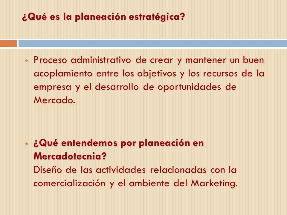 ¿Qué es la planeación estratégica? Proceso administrativo de crear y mantener un buen acoplamiento entre los objetivos y los recursos de la empresa y
