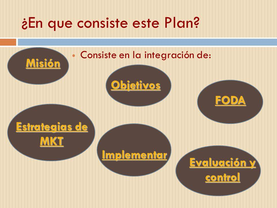 ¿En que consiste este Plan? Consiste en la integración de: Objetivos Misión FODA Estrategias de MKT Estrategias de MKT Implementar Evaluación y contro