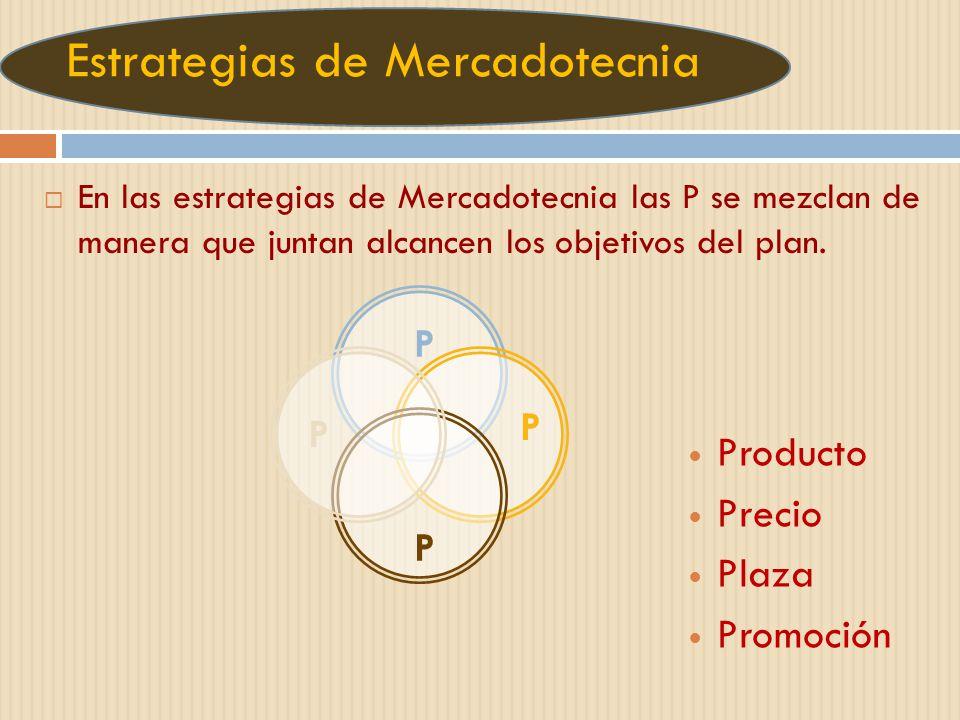 Estrategias de Mercadotecnia En las estrategias de Mercadotecnia las P se mezclan de manera que juntan alcancen los objetivos del plan. P P P P Produc