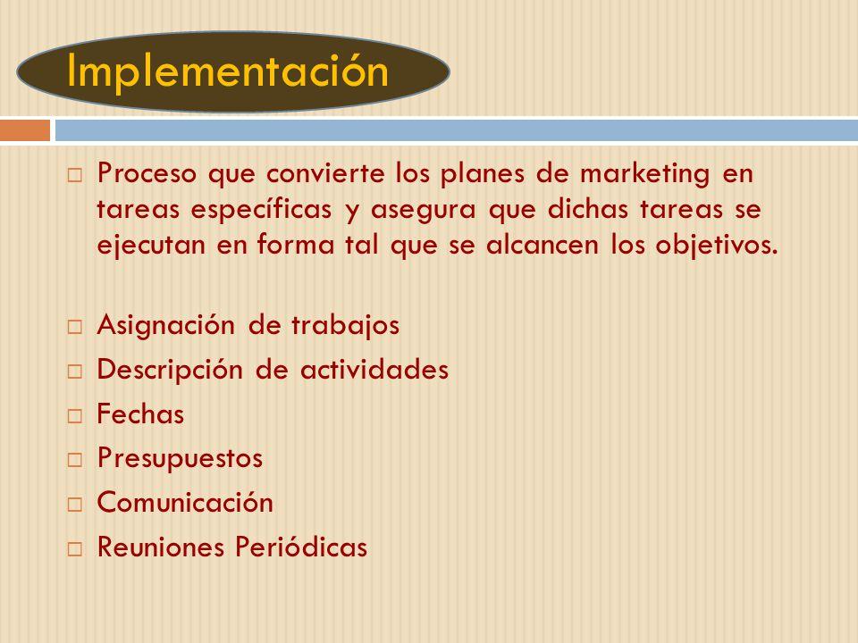 Implementación Proceso que convierte los planes de marketing en tareas específicas y asegura que dichas tareas se ejecutan en forma tal que se alcance