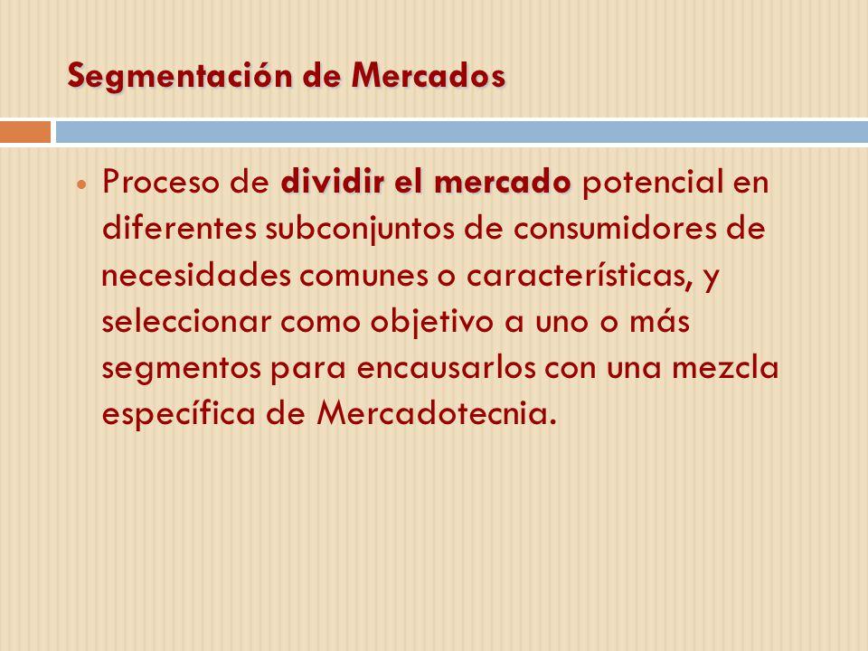 Segmentación de Mercados dividir el mercado Proceso de dividir el mercado potencial en diferentes subconjuntos de consumidores de necesidades comunes