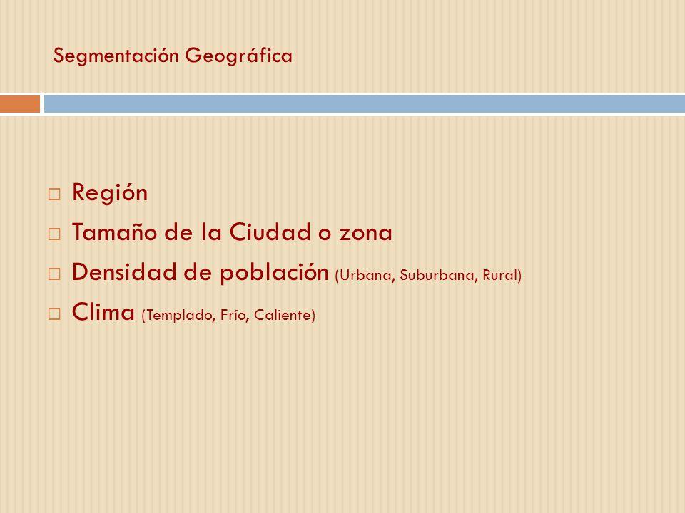 Segmentación Geográfica Región Tamaño de la Ciudad o zona Densidad de población (Urbana, Suburbana, Rural) Clima (Templado, Frío, Caliente)