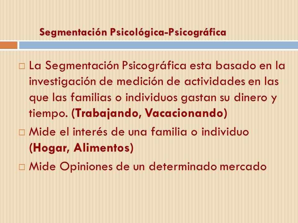 Segmentación Psicológica-Psicográfica La Segmentación Psicográfica esta basado en la investigación de medición de actividades en las que las familias