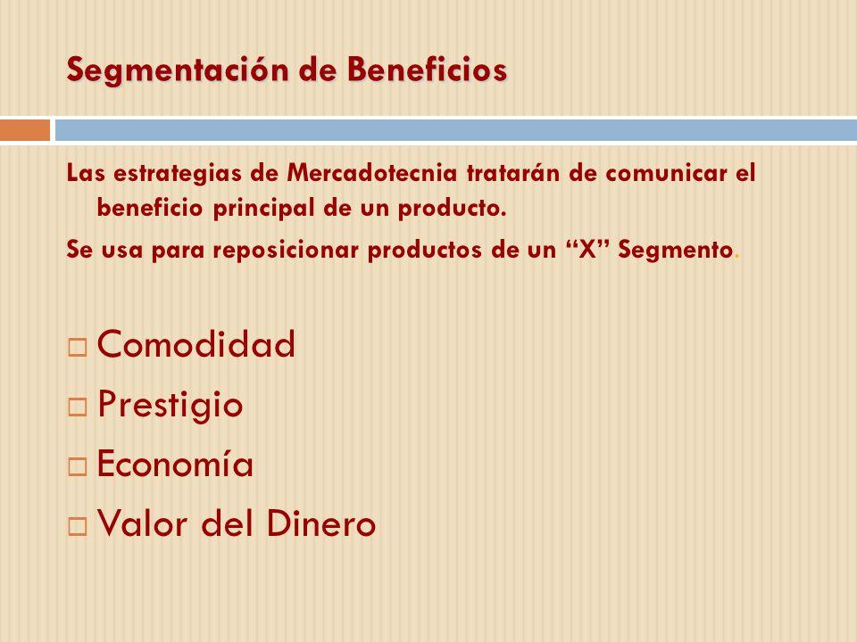 Segmentación de Beneficios Las estrategias de Mercadotecnia tratarán de comunicar el beneficio principal de un producto. Se usa para reposicionar prod