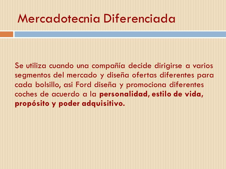 Mercadotecnia Diferenciada Se utiliza cuando una compañía decide dirigirse a varios segmentos del mercado y diseña ofertas diferentes para cada bolsil