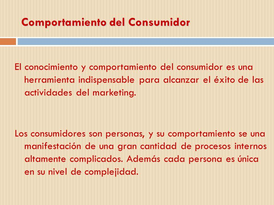 Comportamiento del Consumidor El conocimiento y comportamiento del consumidor es una herramienta indispensable para alcanzar el éxito de las actividad
