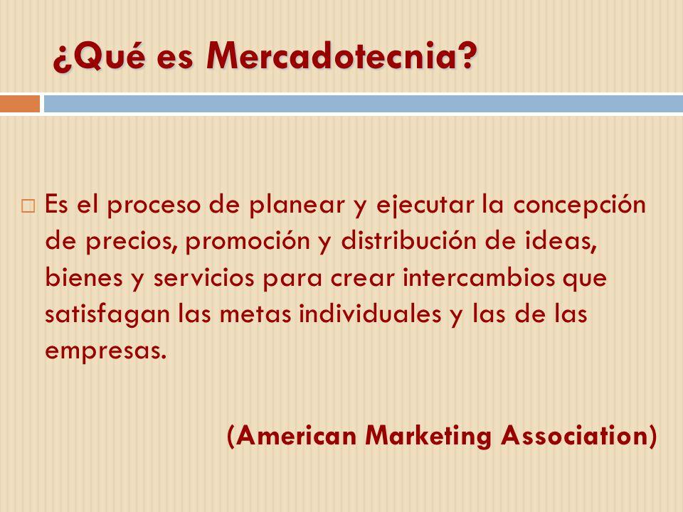 ¿Qué es Mercadotecnia? Es el proceso de planear y ejecutar la concepción de precios, promoción y distribución de ideas, bienes y servicios para crear
