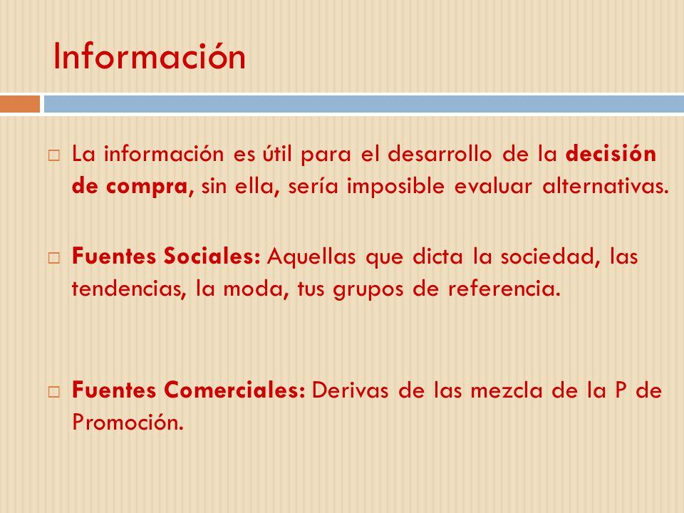 Información La información es útil para el desarrollo de la decisión de compra, sin ella, sería imposible evaluar alternativas. Fuentes Sociales: Aque