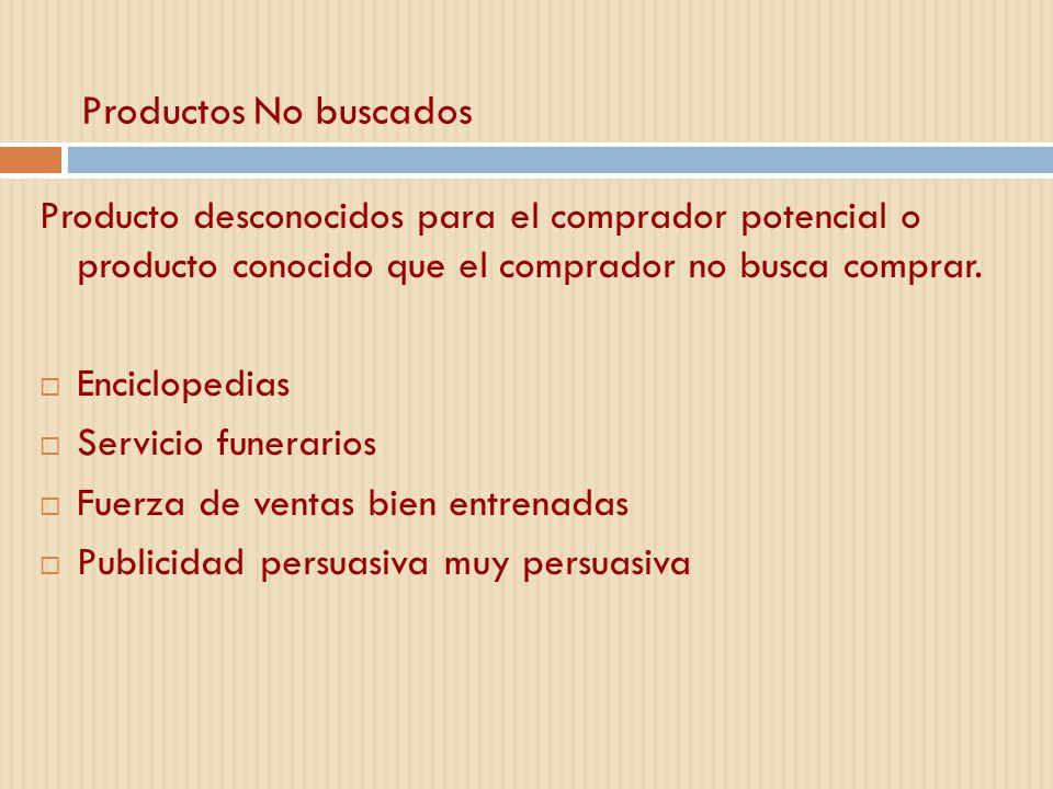 Productos No buscados Producto desconocidos para el comprador potencial o producto conocido que el comprador no busca comprar. Enciclopedias Servicio