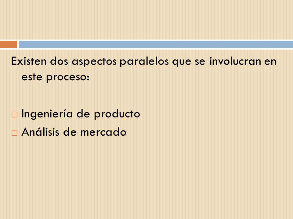 Existen dos aspectos paralelos que se involucran en este proceso: Ingeniería de producto Análisis de mercado