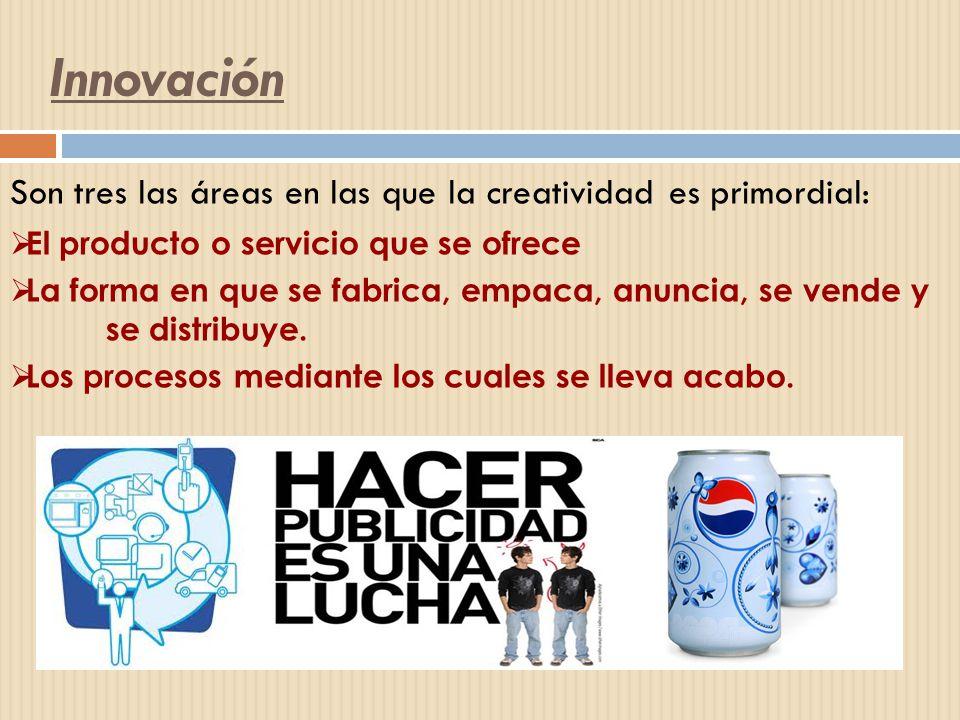 Innovación Son tres las áreas en las que la creatividad es primordial: El producto o servicio que se ofrece La forma en que se fabrica, empaca, anunci