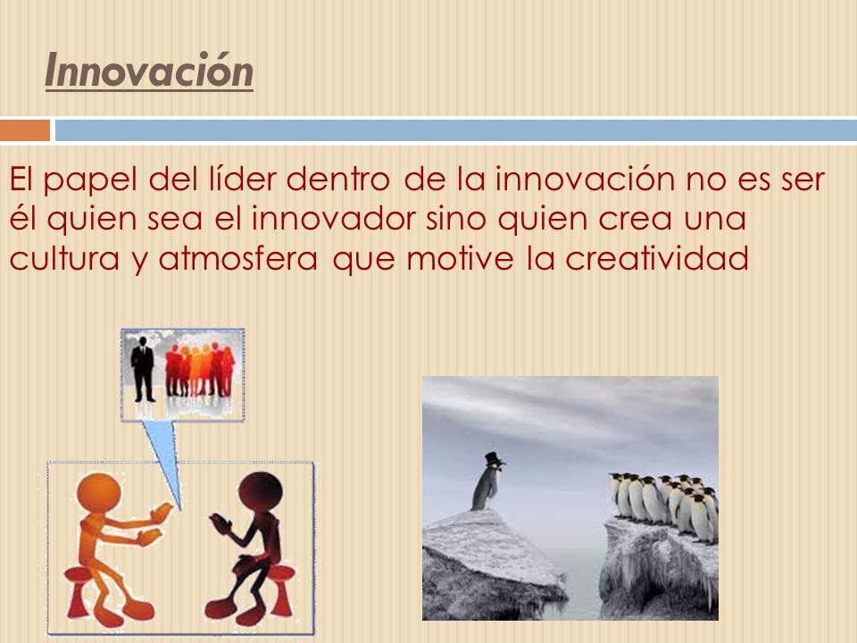 Innovación El papel del líder dentro de la innovación no es ser él quien sea el innovador sino quien crea una cultura y atmosfera que motive la creati