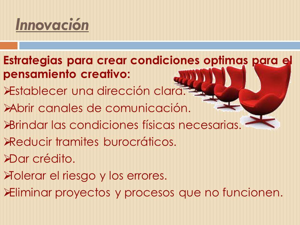 Innovación Estrategias para crear condiciones optimas para el pensamiento creativo: Establecer una dirección clara. Abrir canales de comunicación. Bri