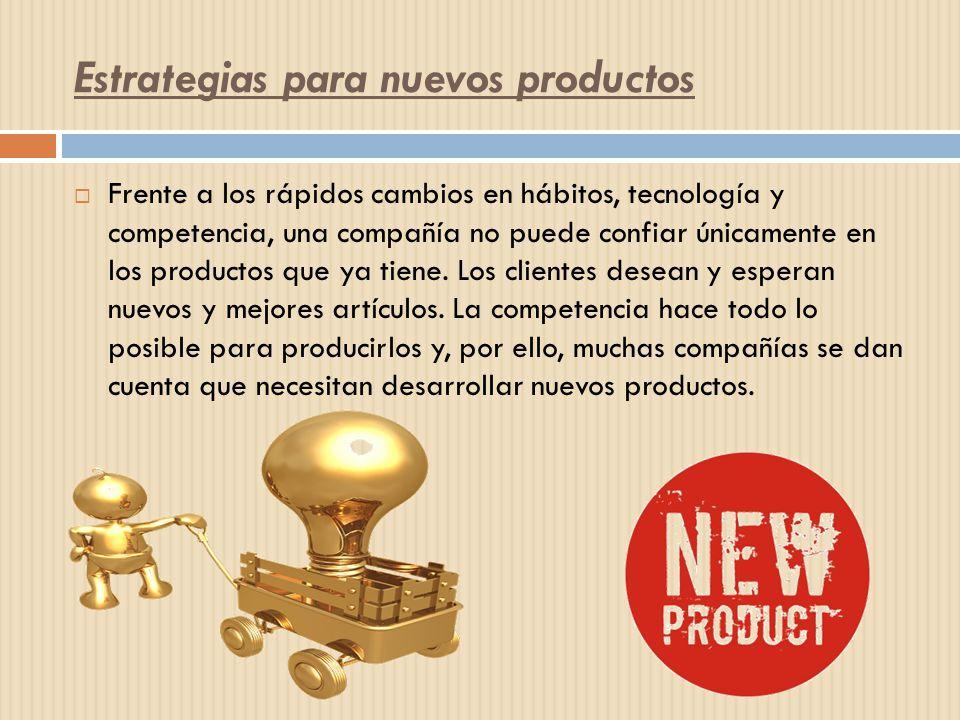 Estrategias para nuevos productos Frente a los rápidos cambios en hábitos, tecnología y competencia, una compañía no puede confiar únicamente en los p