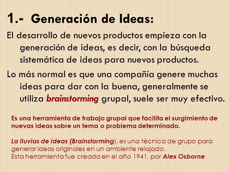 1.- Generación de Ideas: El desarrollo de nuevos productos empieza con la generación de ideas, es decir, con la búsqueda sistemática de ideas para nue
