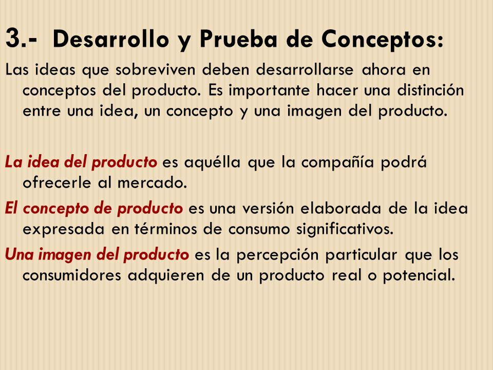 3.- Desarrollo y Prueba de Conceptos: Las ideas que sobreviven deben desarrollarse ahora en conceptos del producto. Es importante hacer una distinción