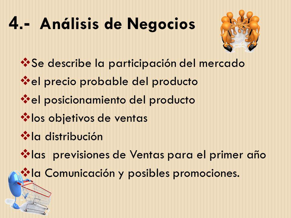 4.- Análisis de Negocios Se describe la participación del mercado el precio probable del producto el posicionamiento del producto los objetivos de ven