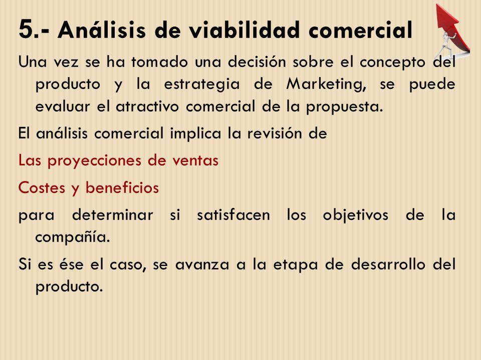 5.- Análisis de viabilidad comercial Una vez se ha tomado una decisión sobre el concepto del producto y la estrategia de Marketing, se puede evaluar e