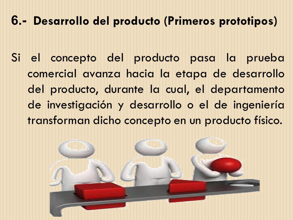 6.- Desarrollo del producto (Primeros prototipos) Si el concepto del producto pasa la prueba comercial avanza hacia la etapa de desarrollo del product