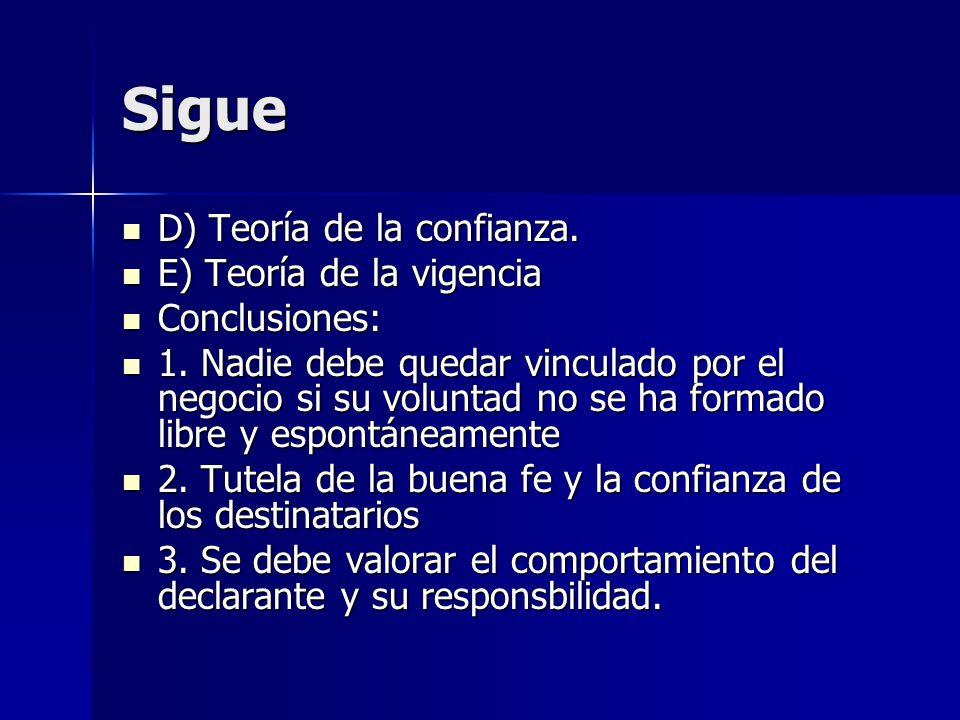 Sigue D) Teoría de la confianza. D) Teoría de la confianza. E) Teoría de la vigencia E) Teoría de la vigencia Conclusiones: Conclusiones: 1. Nadie deb